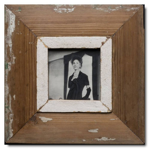 Square rustic timber picture frame for photo size 10,5 x 10,5 cm