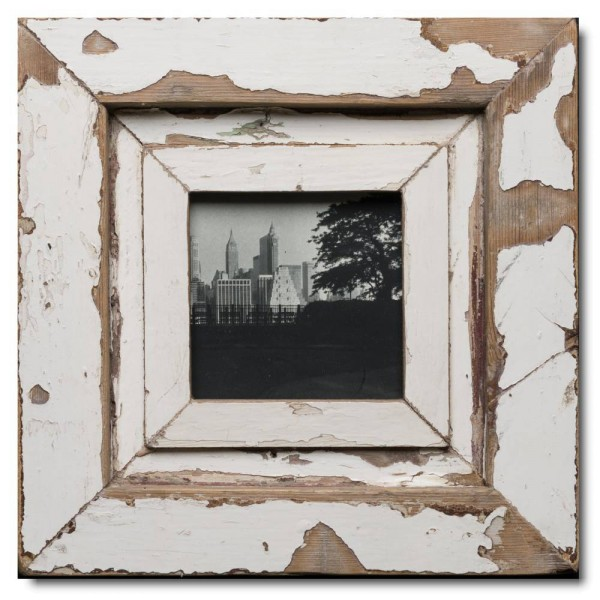 Square distressed wooden picture frame for picture format A6 square