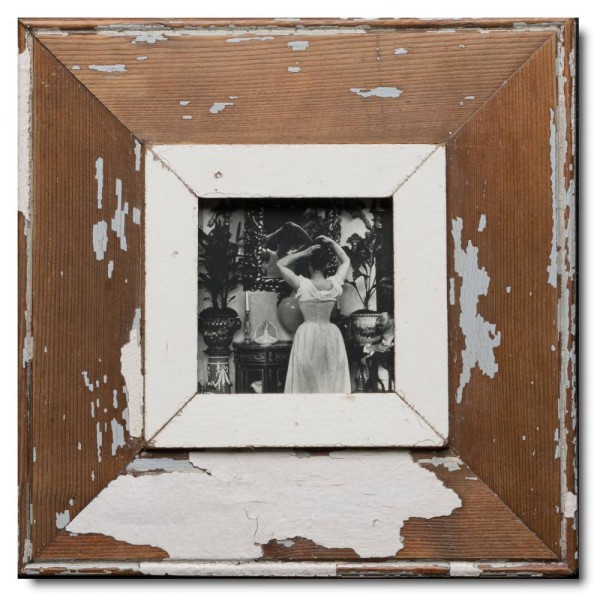 Square reclaimed wood picture frame for photo size A6 square