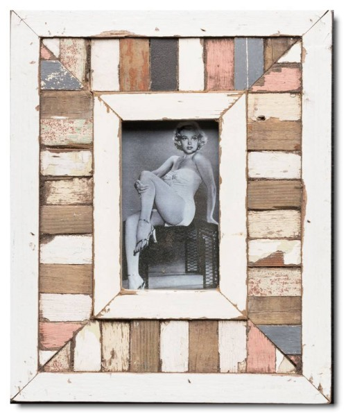 Mosaic rustic timber picture frame for picture format 14,8 x 10,5 cm