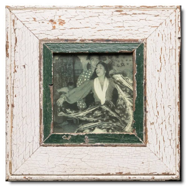 Square rustic timber frame for picture size 14,8 x 14,8 cm