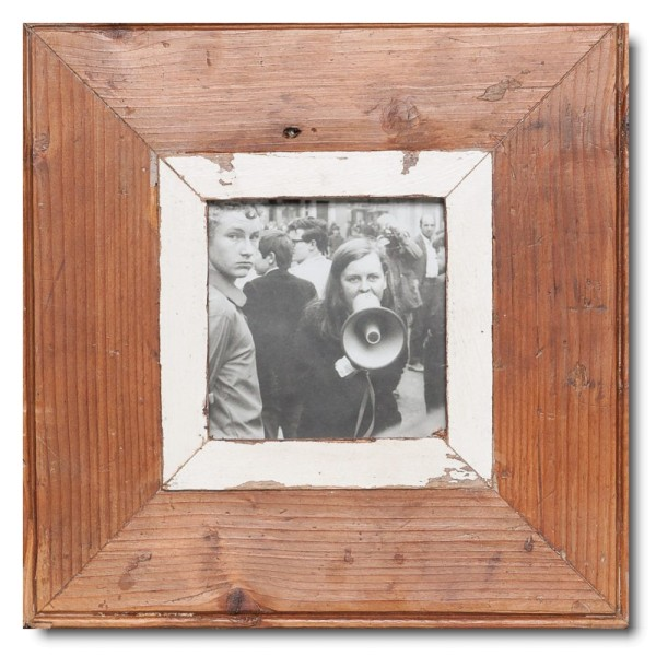 Square distressed wooden picture frame for picture size A6 square