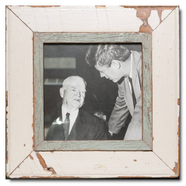 Square reclaimed wood photo frame for picture format 21 x 21 cm