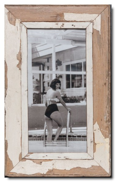 Panoramic distressed wooden picture frame for photo size 2:1