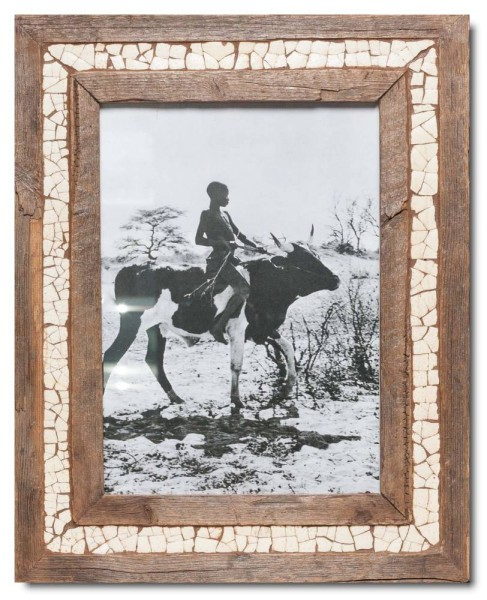 Ostrich eggshell mosaic reclaimed wood photo frame
