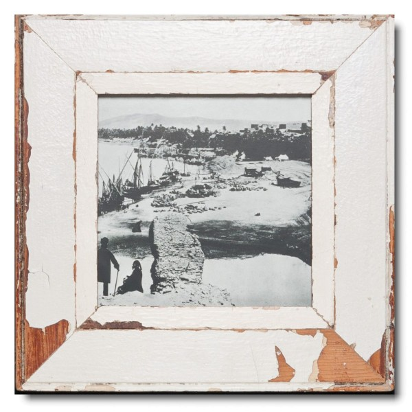 Square distressed wooden frame square for photo size 21 x 21 cm