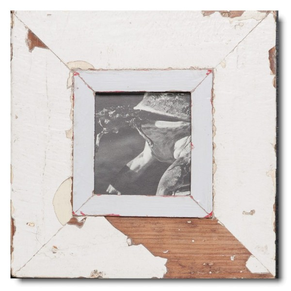 Square reclaimed wood picture frame for photo format A6 square