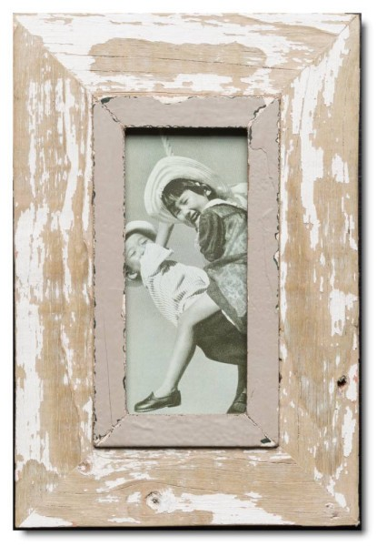 Panoramic distressed wooden frame square for photo size 21 x 10,5 cm