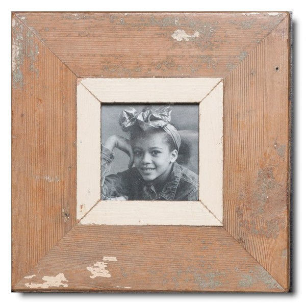 Square distressed wooden frame square for photo format A6 square
