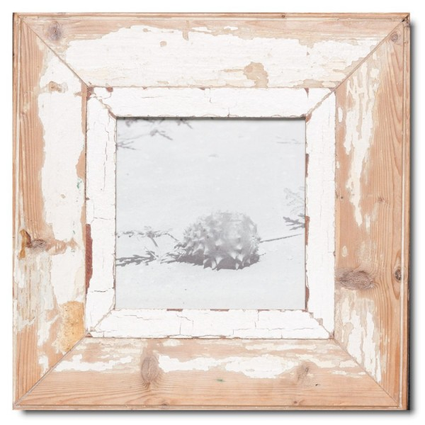 Square reclaimed wood picture frame for photo format A5 square