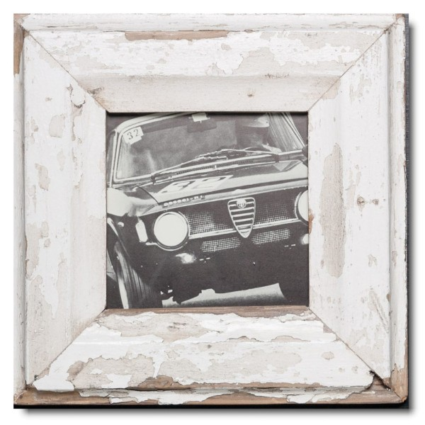 Square rustic timber photo frame for photo format 14,8 x 14,8 cm