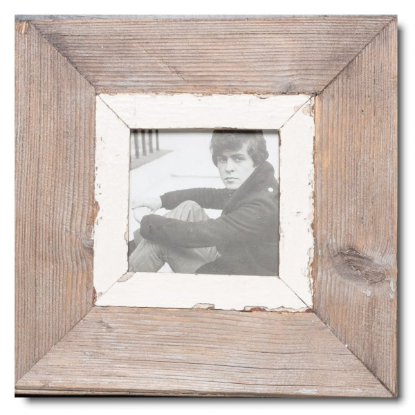 Square distressed wooden frame square for picture size 10,5 x 10,5 cm