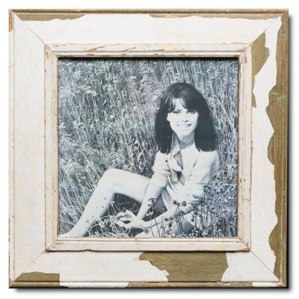 Square reclaimed wood picture frame for picture format A3 square
