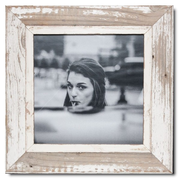 Square reclaimed wood photo frame for picture format A3 square