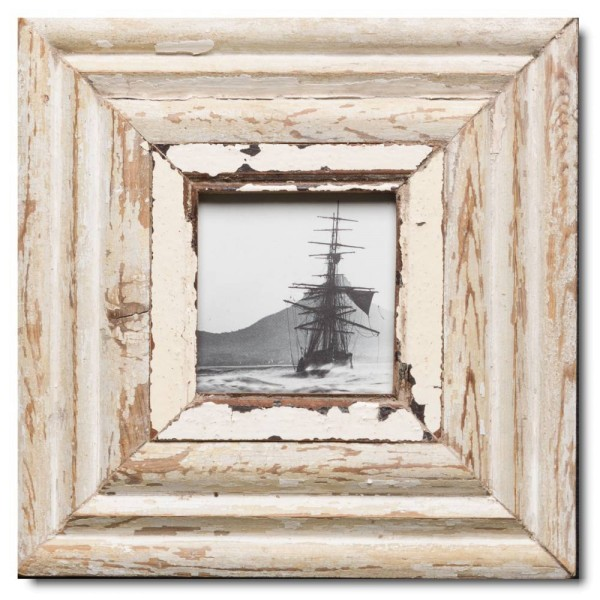 Square reclaimed wood picture frame for picture format A6 square