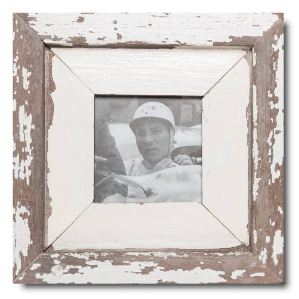 Square distressed wooden picture frame for photo format 10,5 x 10,5 cm