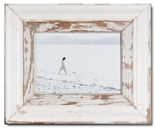 Wide distressed wooden picture frame for picture format 29,7 x 21 cm