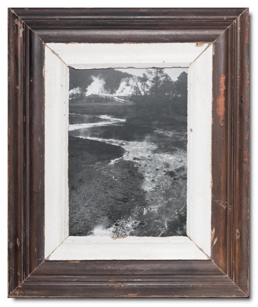 Wide distressed wooden frame square