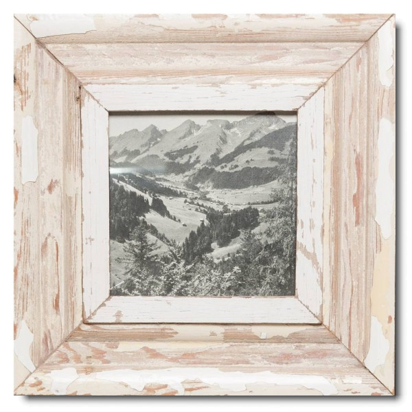 Square reclaimed wood photo frame for photo format 14,8 x 14,8 cm