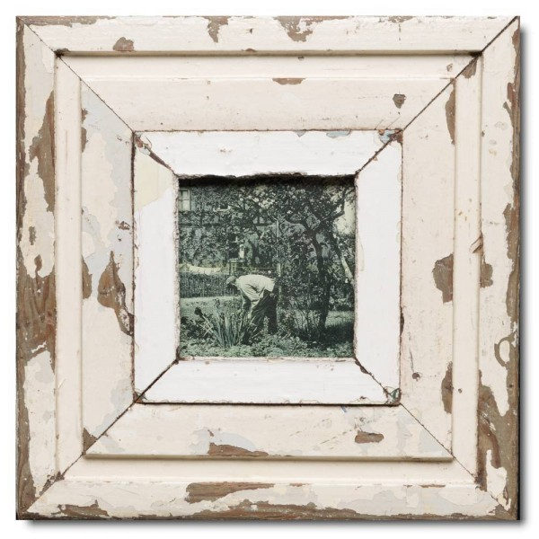 Square reclaimed wood photo frame for photo size 10,5 x 10,5 cm