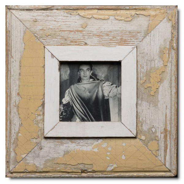 Square rustic timber picture frame for photo format 10,5 x 10,5 cm