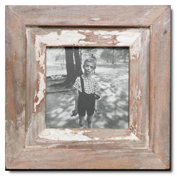 Square reclaimed wood picture frame for photo format 14,8 x 14,8 cm