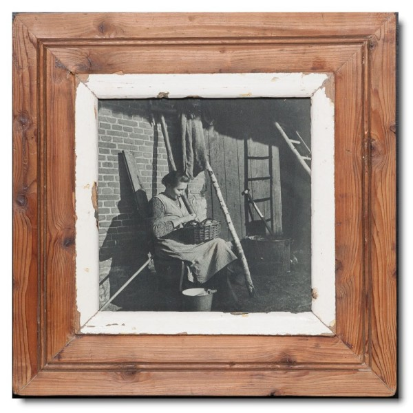 Square reclaimed wood photo frame for photo size A4 square