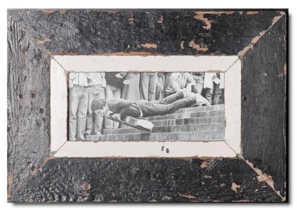 Panoramic distressed wooden picture frame for picture size A5 panoramic