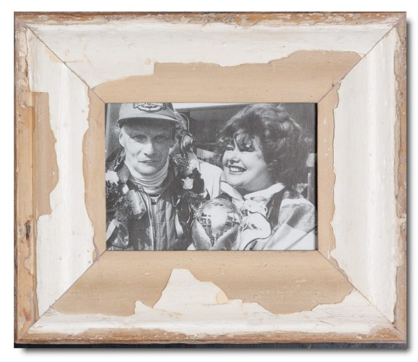 Wide reclaimed wood photo frame for picture size A5