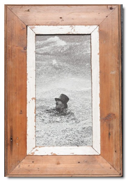 Panoramic rustic timber photo frame for photo size 29,7 x 14,8 cm