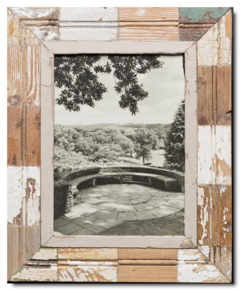Mosaic rustic timber frame for photo format A4