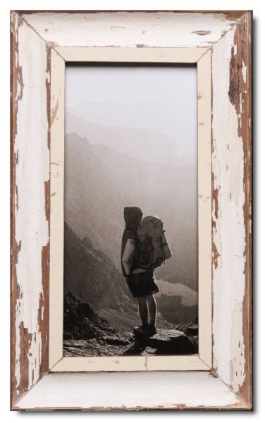 Panoramic distressed wooden picture frame for photo format 42 x 21 cm
