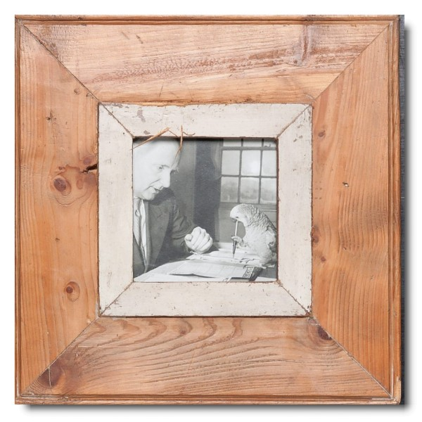 Square rustic timber photo frame for photo size 10,5 x 10,5 cm