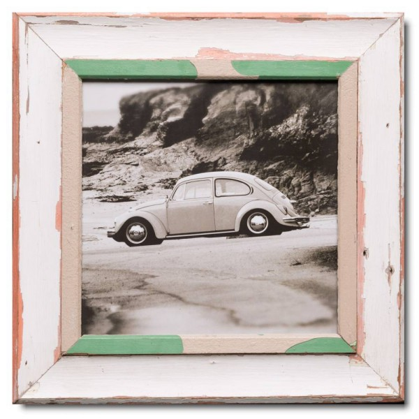 Square distressed wooden frame square for photo format A3 square