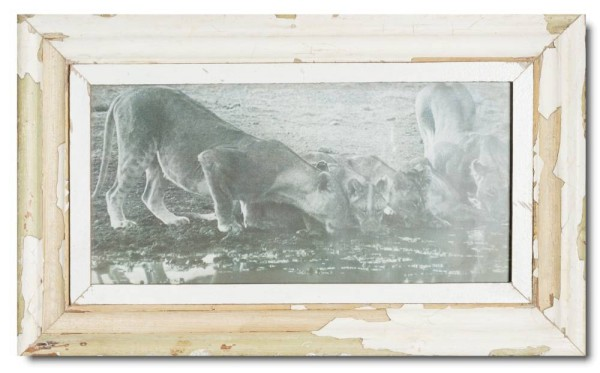 Panoramic distressed wooden picture frame