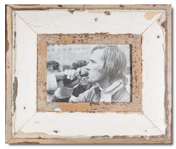 Wide distressed wooden frame square for picture format A5