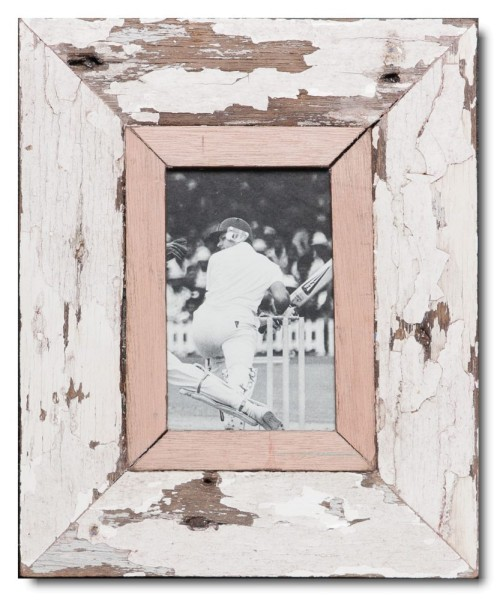 Distressed wooden frame for photo format A6