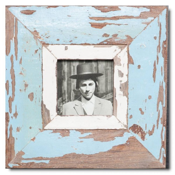 Square reclaimed wood picture frame for picture size 10,5 x 10,5 cm