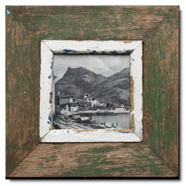 Square distressed wooden frame square for picture format A5 square
