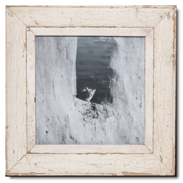 Square reclaimed wood photo frame for photo size 29,7 x 29,7 cm