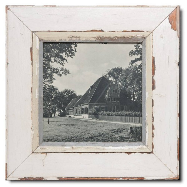 Square distressed wooden picture frame for photo size 21 x 21 cm