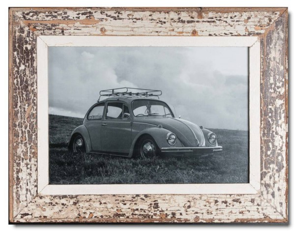 Distressed wooden frame for photo format 42 x 29,7 cm