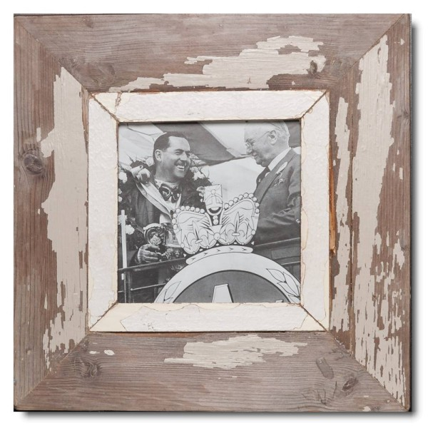 Square distressed wooden picture frame for picture format 14,8 x 14,8 cm