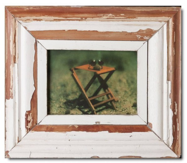 Wide reclaimed wood photo frame for picture size 21 x 14,8 cm