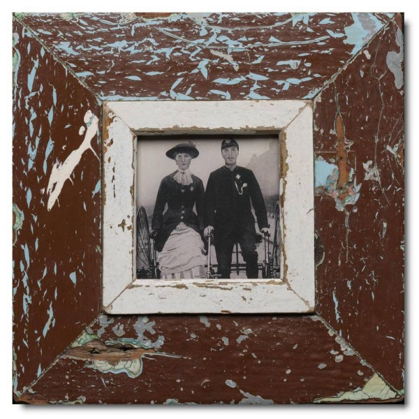Square distressed wooden frame square for photo size 10,5 x 10,5 cm