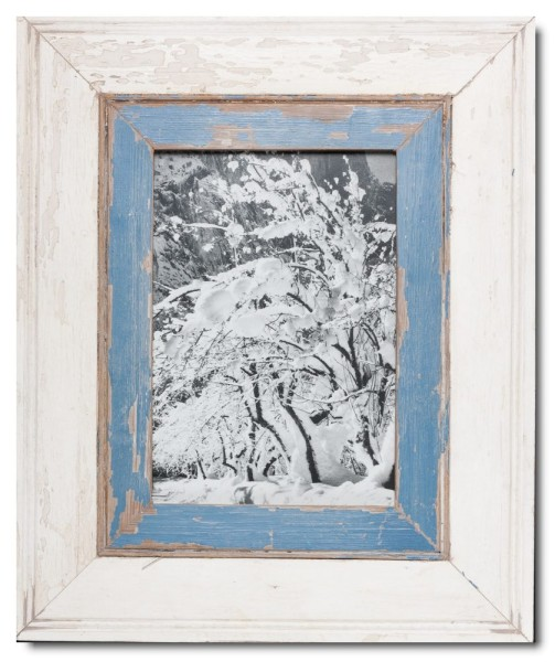 Wide reclaimed wood picture frame for photo format 29,7 x 21 cm
