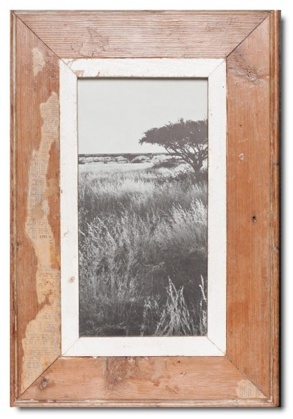 Panoramic reclaimed wood picture frame for picture format 29,7 x 14,8 cm