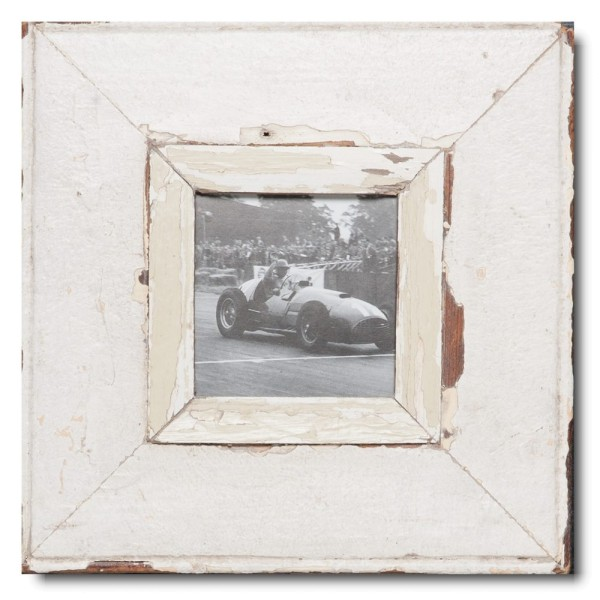 Square rustic timber picture frame for photo format A6 square