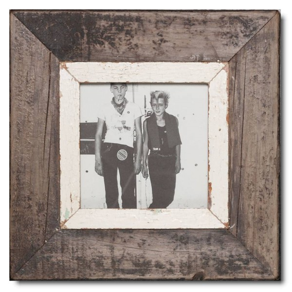 Square reclaimed wood picture frame for picture size 14,8 x 14,8 cm