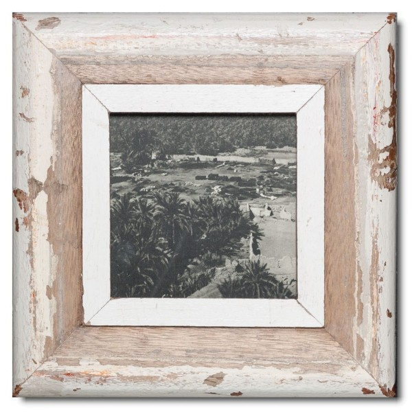 Square rustic timber photo frame for picture format 14,8 x 14,8 cm
